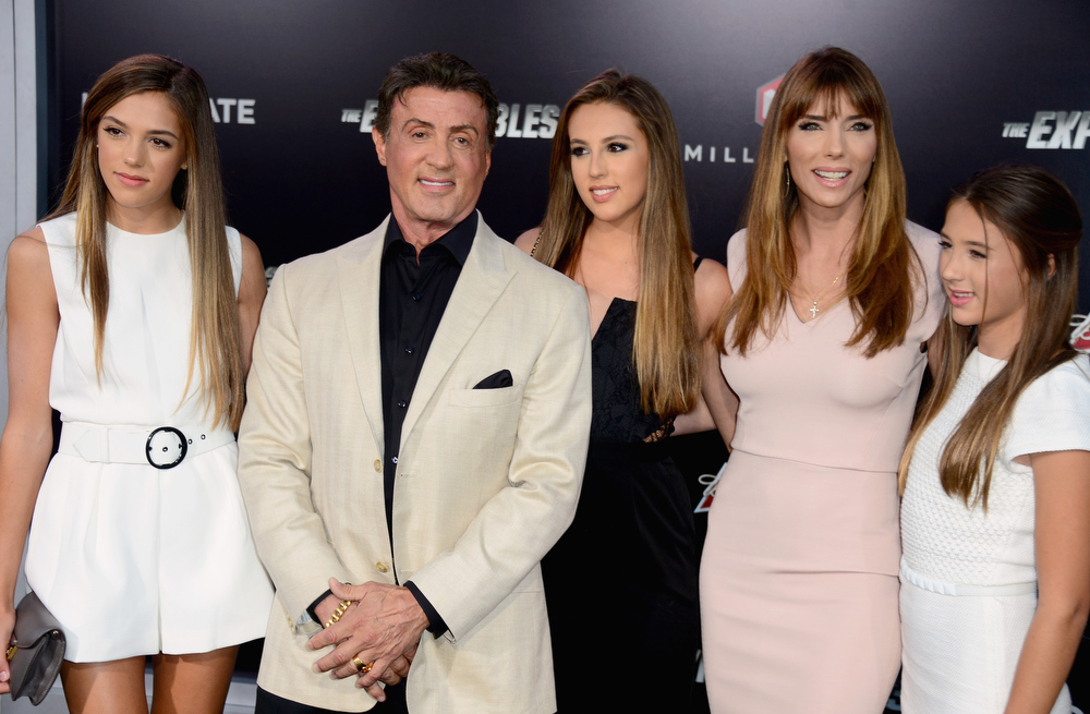 """. Sistine Rose, actor Sylvester Stallone, Sophia Rose Stallone; Jennifer Flavin Stallone and Scarlet Rose Stallone attend Lionsgate Films\' \""""The Expendables 3\"""" premiere at TCL Chinese Theatre on August 11, 2014 in Hollywood, California.  (Photo by Frazer Harrison/Getty Images)"""
