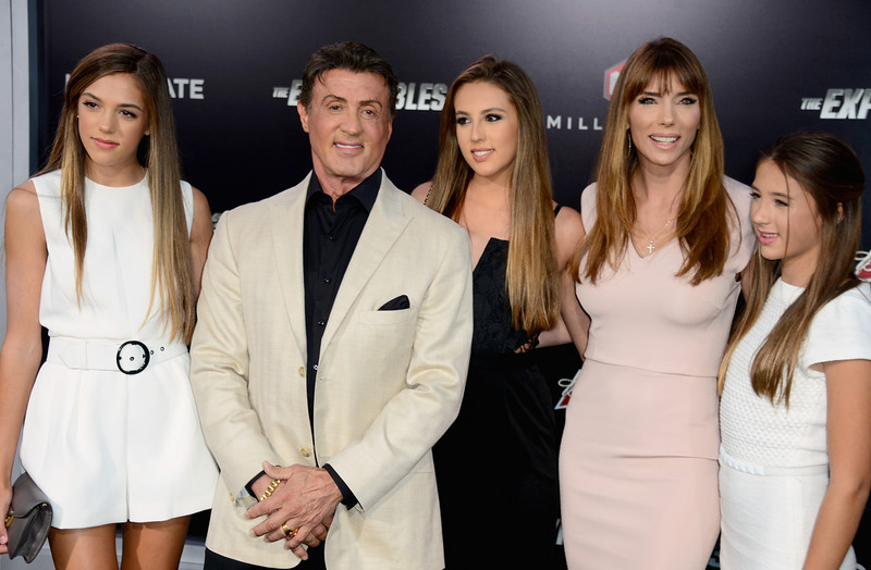 ". Sistine Rose, actor Sylvester Stallone, Sophia Rose Stallone; Jennifer Flavin Stallone and Scarlet Rose Stallone attend Lionsgate Films\' ""The Expendables 3\"" premiere at TCL Chinese Theatre on August 11, 2014 in Hollywood, California.  (Photo by Frazer Harrison/Getty Images)"