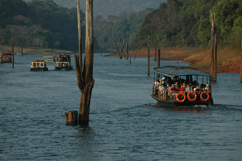 Tourist boats on the lake in the Periyar Wildlife Preserve