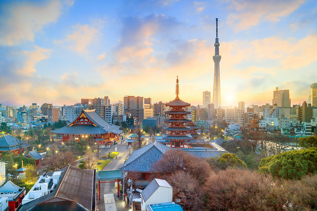 Sunset over Asakusa and Tokyo Sky Tree. Editorial credit: f11photo / Shutterstock.com