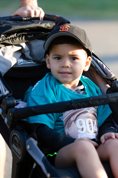 Three year old A. Roselius was one of the youngest participants in the 2nd Annual Visalia Hot Fudge Sundae Run. His parents finished with a matching time of 44:46.6.