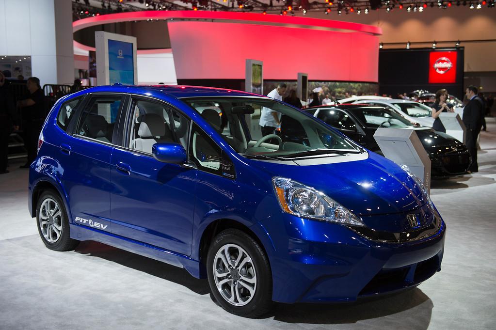 . The Honda Fit EV at Los Angeles Auto Show on Wednesday, Nov. 20, 2013, in Los Angeles. (Photo by Watchara Phomicinda/San Gabriel Valley Tribune)
