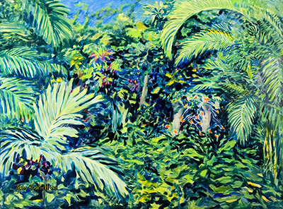 """©John Rachell Title:Garden Series, July 20, 2005 Image Size: 36""""d X 48""""w Dated: 2005 Medium & Support: Oil paint on canvas Signed: LL Signature"""