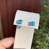 3.47ctw Blue Zircon Hexagon Stud Earrings 12