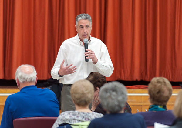 11/13/18 Wesley Bunnell | Staff A public forum for a potential new community and senior center was held at the Berlin Senior Center on Tuesday afternoon with a packed audience. Berlin Mayor Mark Kaczynski speaks to the group.