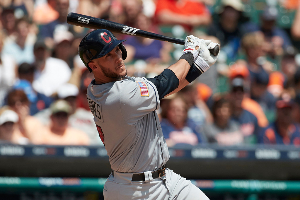 . Cleveland Indians Yan Gomes (7) hits a ground rule double against the Cleveland Indians during the third inning in the first baseball game of a doubleheader in Detroit, Saturday, July 1, 2017. (AP Photo/Rick Osentoski)