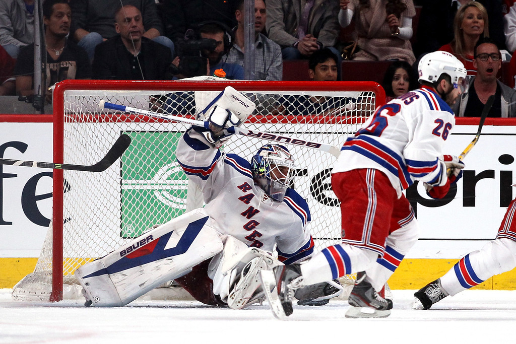 . Henrik Lundqvist #30 of the New York Rangers tends goal against the Montreal Canadiens during Game Two of the Eastern Conference Final during the 2014 Stanley Cup Playoffs at Bell Centre on May 19, 2014 in Montreal, Canada.  (Photo by Bruce Bennett/Getty Images)