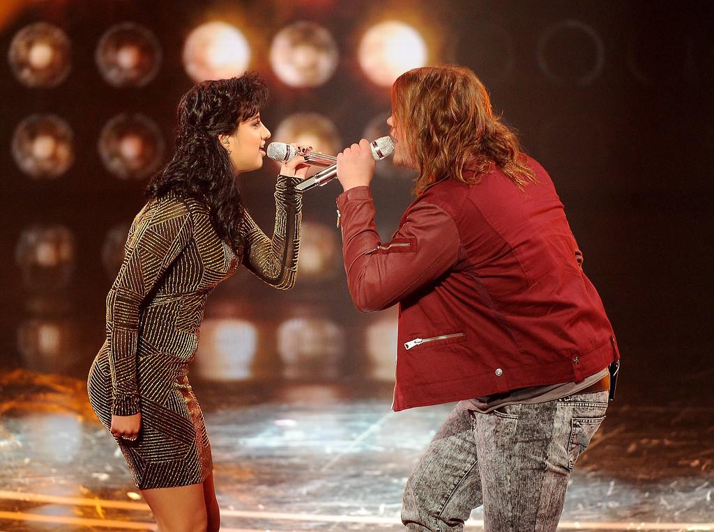 . AMERICAN IDOL XIII: L-R: Jena Irene and Caleb Johnson perform on AMERICAN IDOL XIII airing Wednesday, April 9 (8:00-10:00 PM ET / PT) on FOX. CR: Frank Micelotta / FOX. Copyright 2014 / FOX Broadcasting.