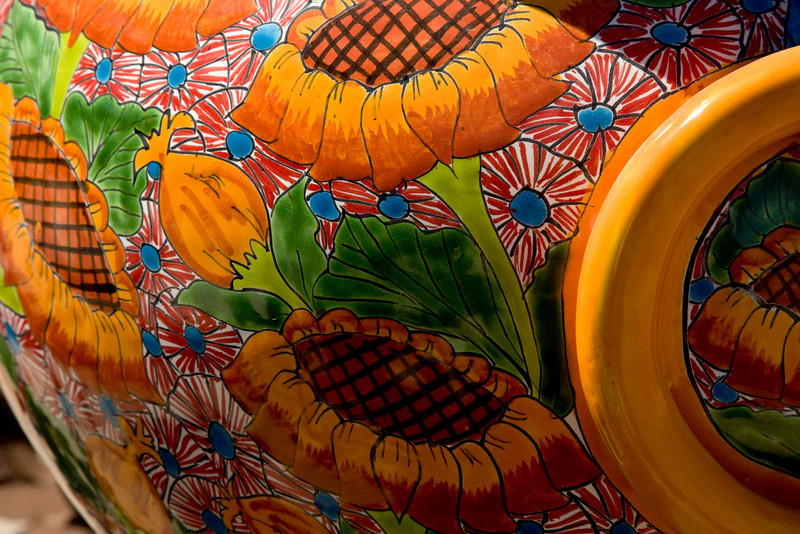 The colors in the local pottery are as brilliant as the colors in nature in this land of unfiltered sun.