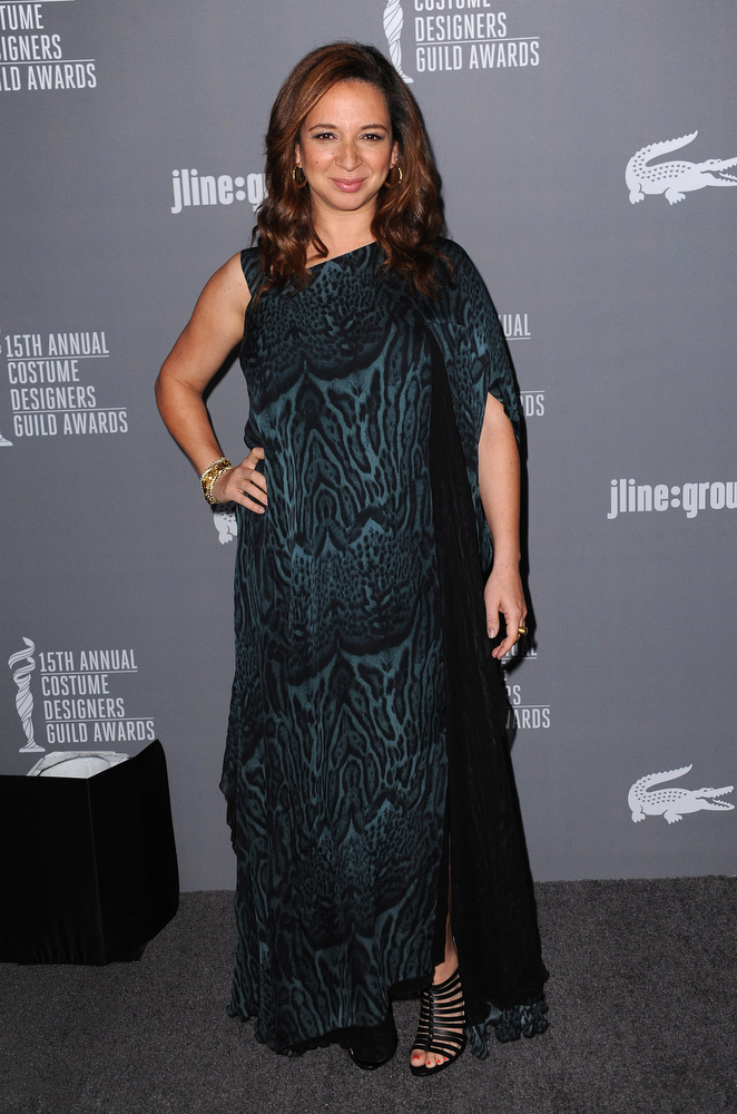 Description of . Maya Rudolph arrives at the 15th Annual Costume Designers Guild Awards at The Beverly Hilton Hotel on Tuesday, Feb. 19, 2013 in Beverly Hills. (Photo by Jordan Strauss/Invision/AP)