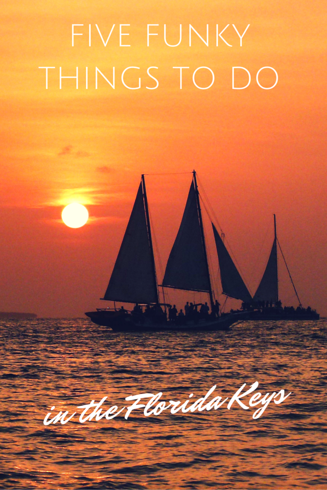 Text on photo: Five Funky Things To Do in the Florida Keys. Photo: Sailing schooner at sunset