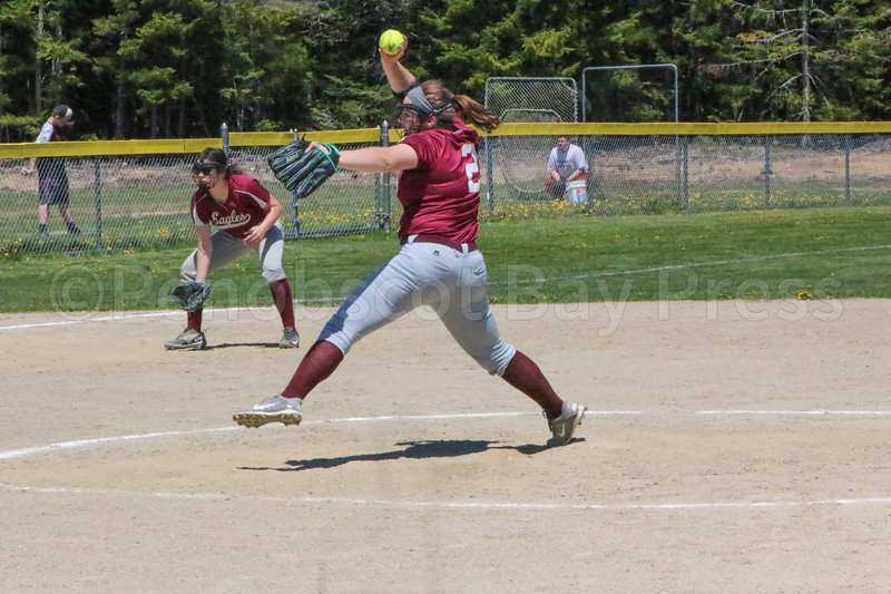 Mallory Charette winds up a pitch against Dexter on May 20. Photo by Anne Berleant
