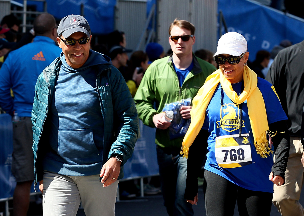 . Governor Deval Patrick participates in the B.A.A. Tribute Run on April 19, 2014 in Boston, Massachusetts.  (Photo by Alex Trautwig/Getty Images)