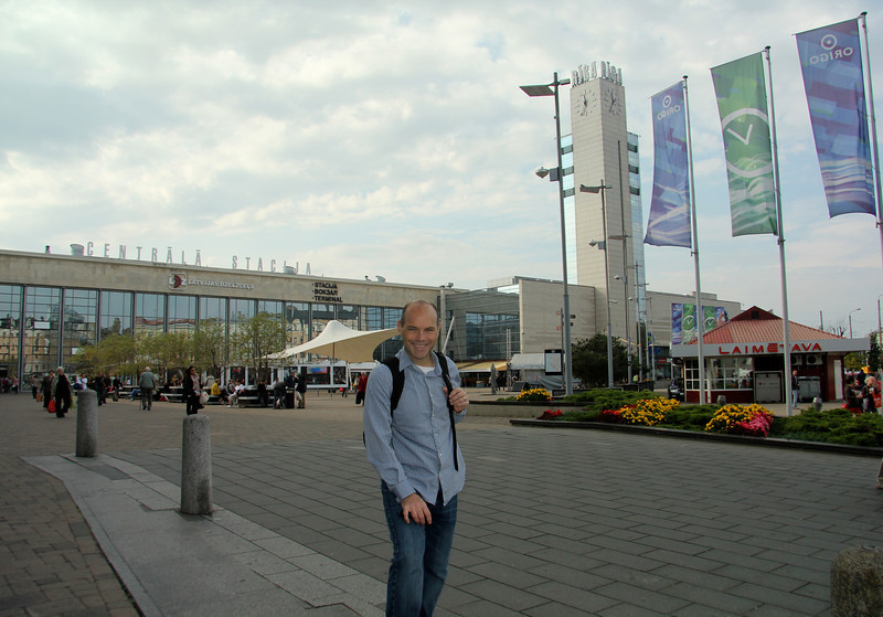 At the central train station for a day trip -Riga, Latvia
