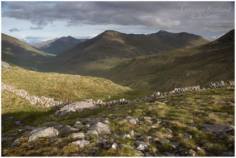 Gleouraich, Sgurr a'Mhaoraich and Wester Glen Quoich from Bealach Duibh Leac