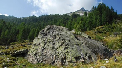 One of the several rock outcrops encountered during the Soapstone Route. Source: patriziatocampovallemaggia.ch