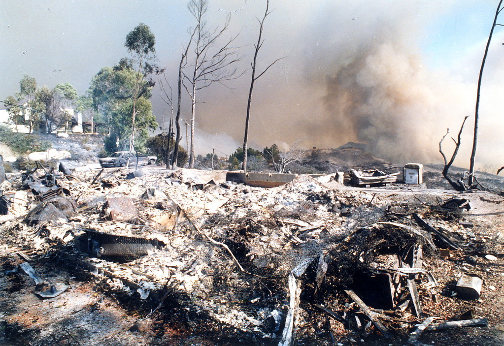 . Only rubble remains of a home in the area near Old Topanga Road and Mulholland Highway. (11/3/93)   Los Angeles Daily News file photo