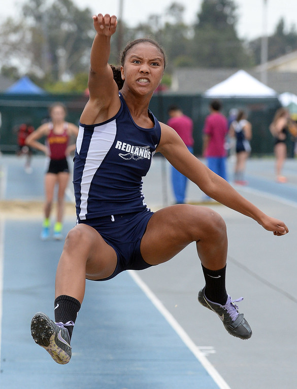 . Redland\'s Margaux Jones competes in the Division 2 long jump during the CIF Southern Section track and final Championships at Cerritos College in Norwalk, Calif., on Saturday, May 24, 2014.   (Keith Birmingham/Pasadena Star-News)