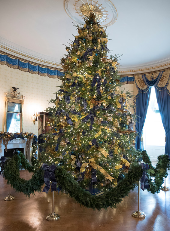 . The official White House Christmas tree is seen in the Blue Room during a media preview of the 2017 holiday decorations at the White House in Washington, Monday, Nov. 27, 2017. (AP Photo/Carolyn Kaster)