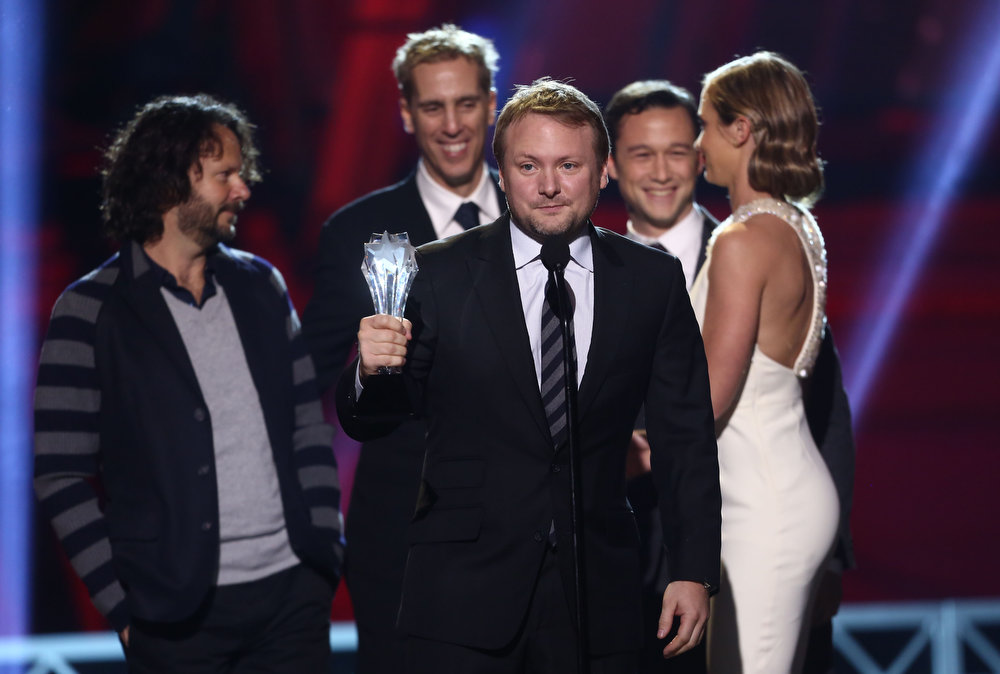 Description of . Rian Johnson accepts the award for best Sci-Fi/Horror Movie for