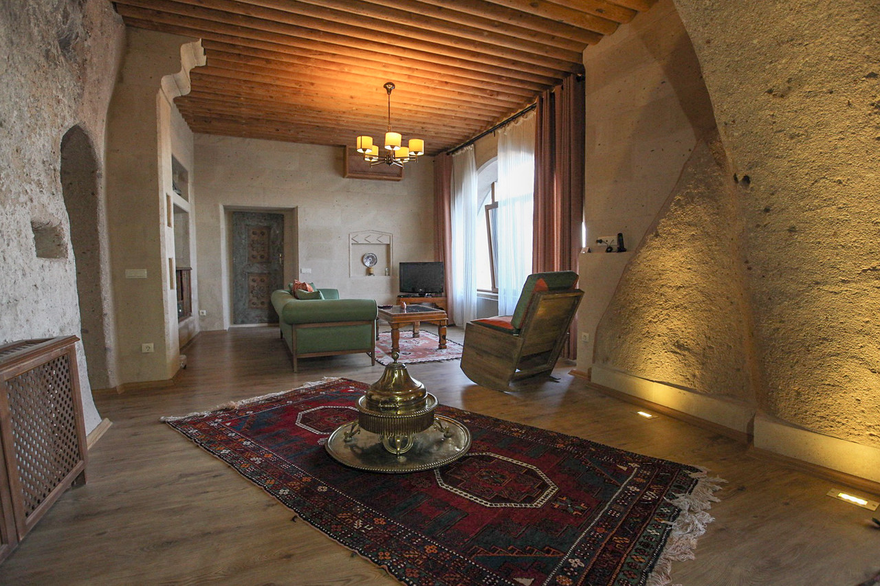 Living Room in one of the Suites at the Taskonaklar Cave Hotel in Cappadocia, Turkey