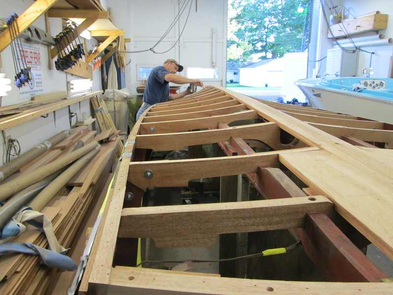 New frames and keel getting epoxy applied before the first layer of plywood is installed.
