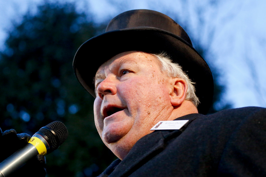 . Groundhog Club President Bill Deeley talks to the crowd during the annual celebration of Groundhog Day on Gobbler\'s Knob in Punxsutawney, Pa., Tuesday, Feb. 2, 2016. Phil\'s handlers said that the groundhog has forecast Winter has ended. (AP Photo/Keith Srakocic)