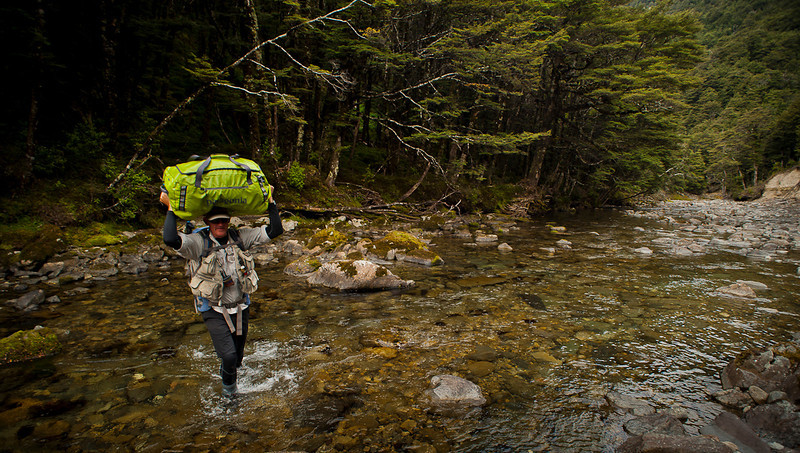 setting up camp on the headwaters stream