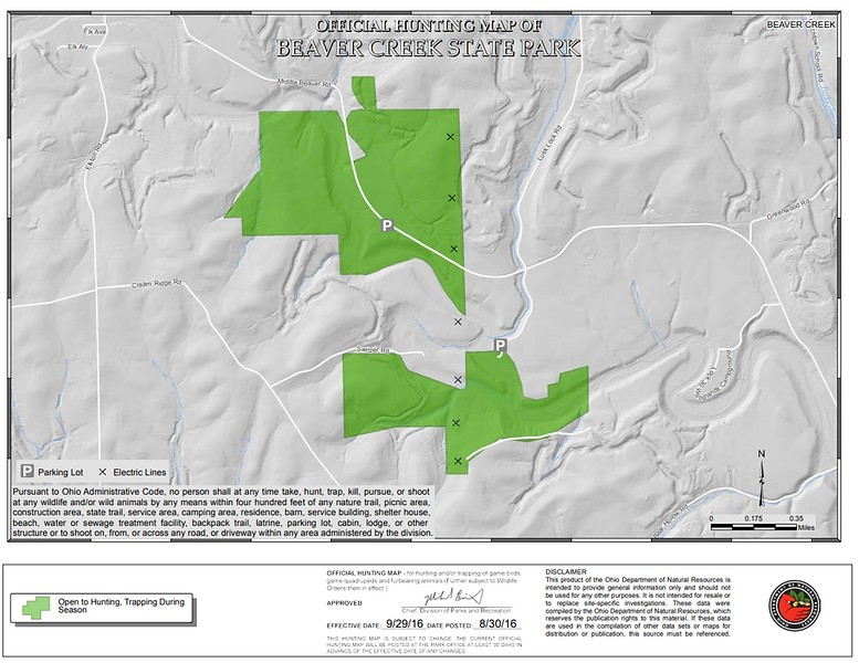 Beaver Creek State Park (Hunting Map - South)