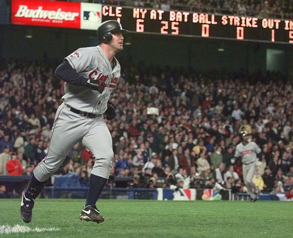 . Cleveland Indians Jim Thome runs up the baseline as he watches his fifth inning grand slam off of New York Yankees pitcher David Cone in Game 6 of the American League Championship Series Tuesday, Oct. 13, 1998 at Yankee Stadium in New York. (AP Photo/Mark Lennihan)