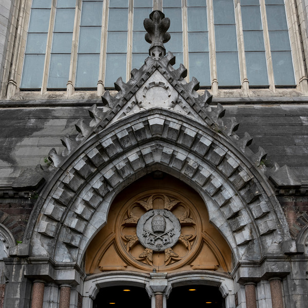 Art deco detail of a cathedral, Cork City, Ireland