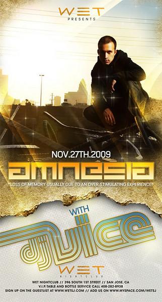 WET Night Club Presents AMNESIA  w DJ Vice Hosted by Playboi Presents @ WET 11.27.09