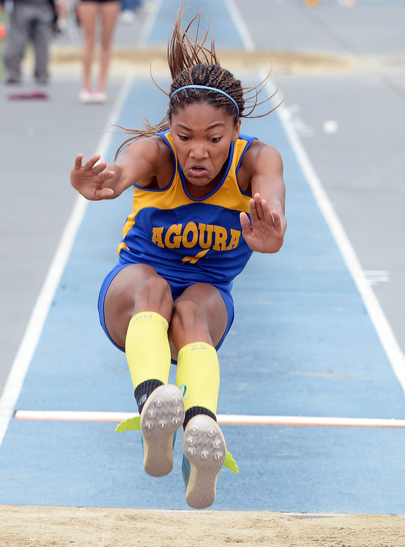 . Agoura\'s Tara Davis competes in the Division 2 long jump during the CIF Southern Section track and final Championships at Cerritos College in Norwalk, Calif., on Saturday, May 24, 2014.   (Keith Birmingham/Pasadena Star-News)
