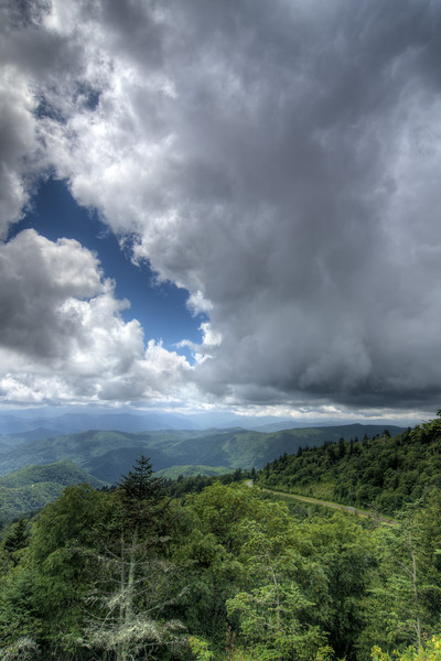 View from the Waterrock Knob Overlook parking area at Milepost 451.2 on the Blue Ridge Parkway in North Carolina on Friday, July 24, 2015. Copyright 2015 Jason Barnette