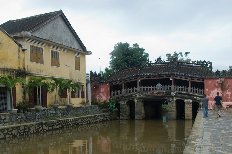Tourists near or on the foot bridge of Hoi An, Vietnam