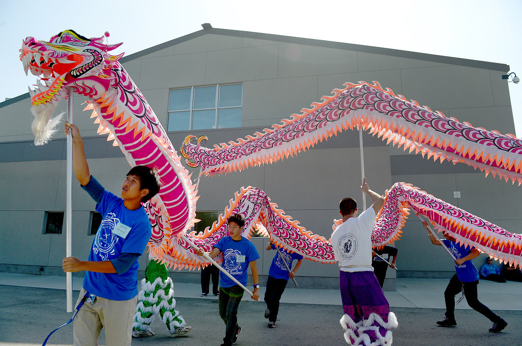 . The San Gabiel Valley Chinese Cultural Association teaches the dragon dance during the 4th Annual San Gabriel Youth Summit at Columbia School in El Monte Saturday, March 23, 2013. (SGVN/Staff Photo by Sarah Reingewirtz)
