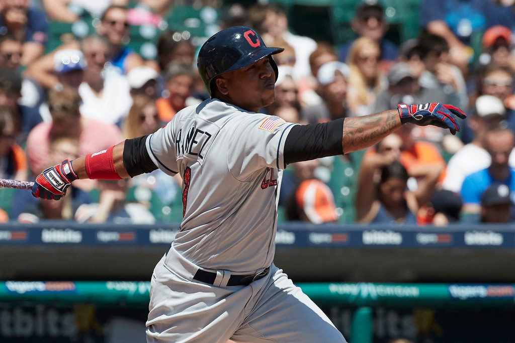 . Cleveland Indians Jose Ramirez hits a three-run home run against the Detroit Tigers in the fourth inning of a baseball game in Detroit, Sunday, July 2, 2017. (AP Photo/Rick Osentoski)