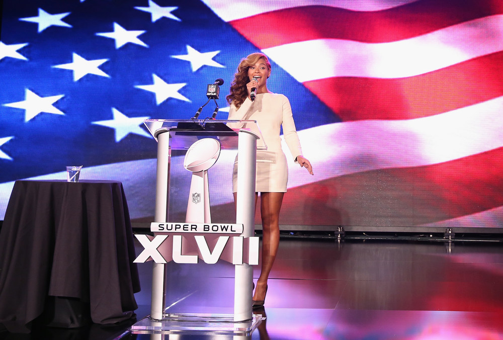 . Beyonce performs the National Anthem at the Pepsi Super Bowl XLVII Halftime Show Press Conference at the Ernest N. Morial Convention Center on January 31, 2013 in New Orleans, Louisiana.  (Photo by Christopher Polk/Getty Images)
