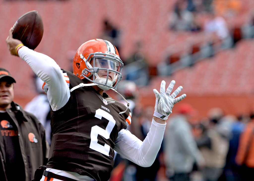 . News-Herald file Cleveland quarterback Johnny Manziel warms up before the Browns\' game against the Buccaneers Nov. 2 at FirstEnergy Stadium.