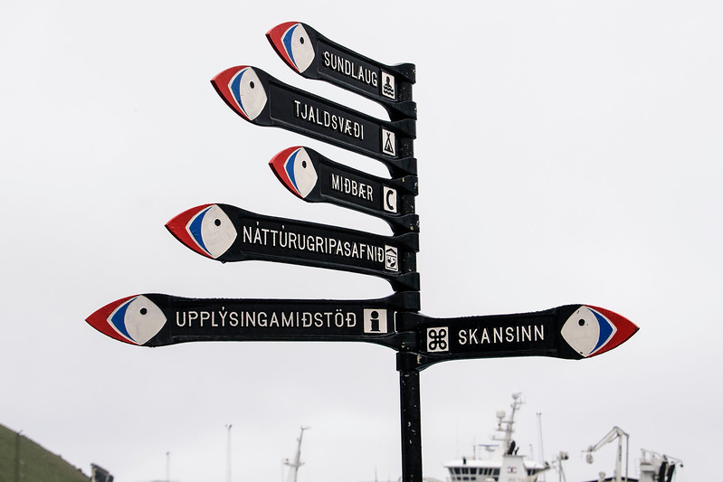 Street Sign Featuring Puffin Heads - Westman Islands, Iceland