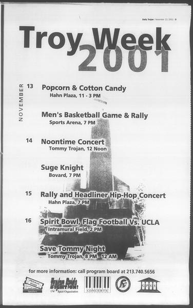 Daily Trojan, Vol. 144, No. 53, November 13, 2001