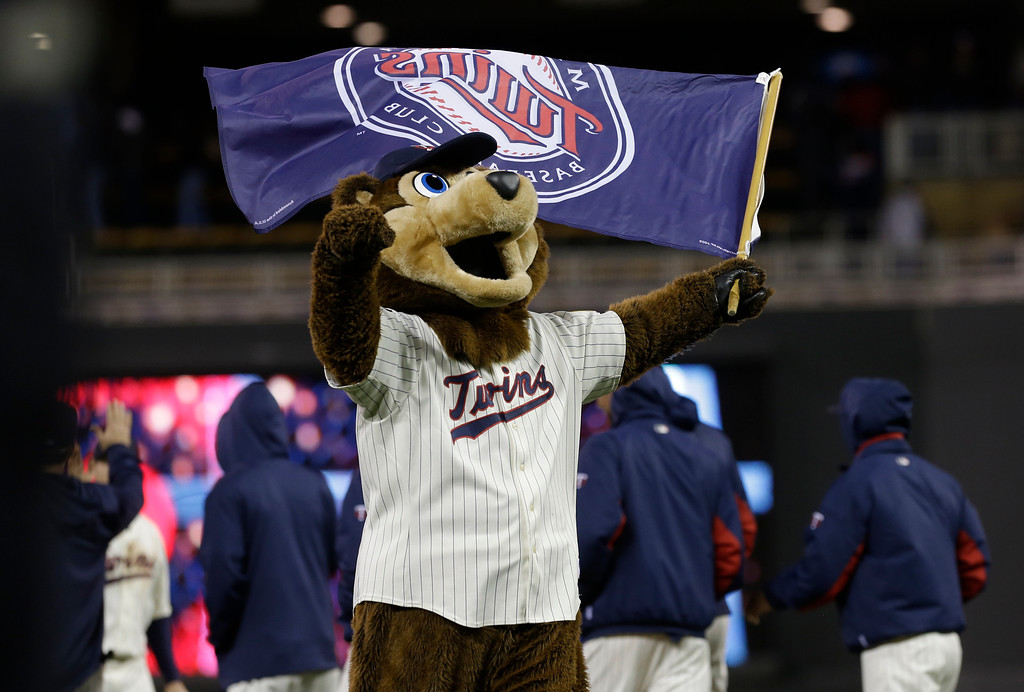 . Minnesota Twins mascot TC waves a team flag after the team defeated the Baltimore Orioles 8-5. (AP Photo/Jim Mone)