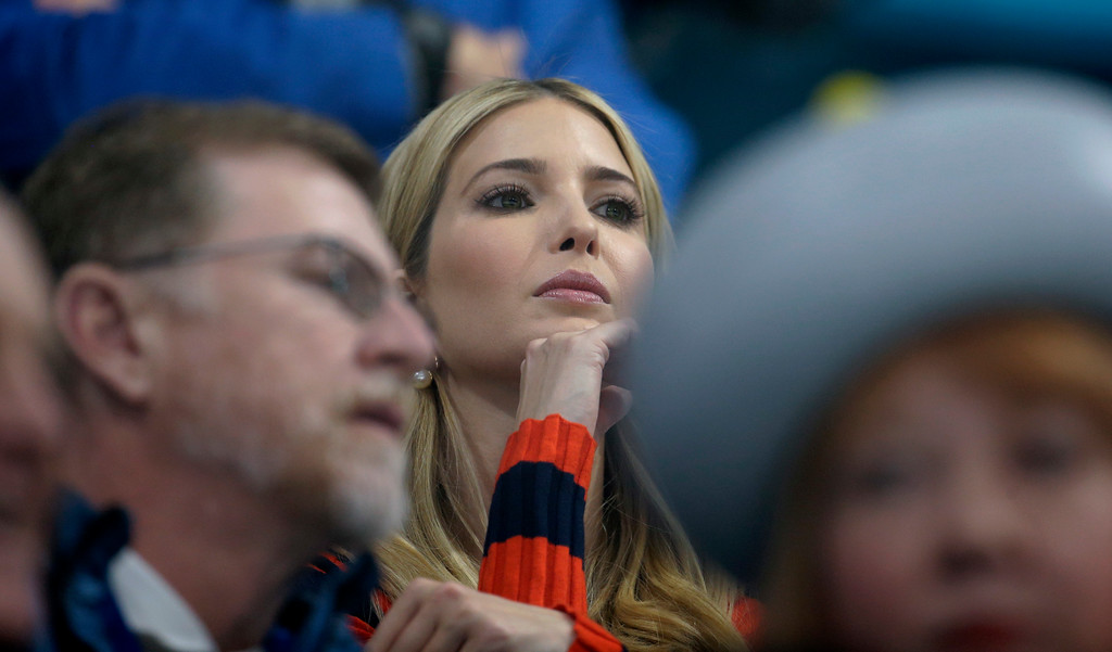 . Ivanka Trump, daughter of U.S. President Donald Trump, watches the men\'s final curling match between United States and Sweden at the 2018 Winter Olympics in Gangneung, South Korea, Saturday, Feb. 24, 2018. (AP Photo/Natacha Pisarenko)