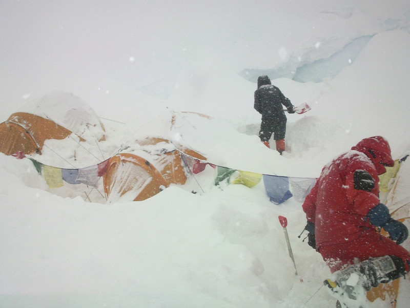 Night before climb we got more than meter of new snow with strong wind