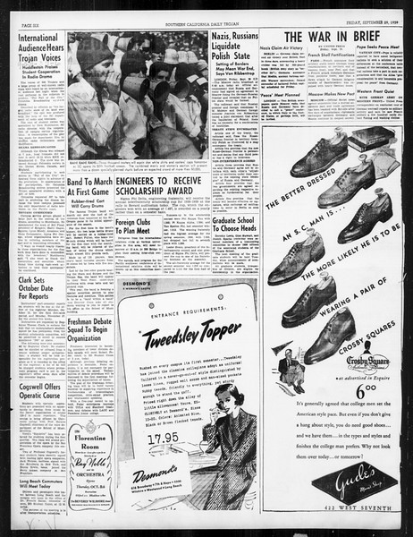 Daily Trojan, Vol. 31, No. 11, September 29, 1939