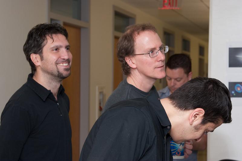 Davide Donato, Tod Strohmayer, Fotis Gavriil, (Dave Rapchun in background) -- March 2011 new staff welcome coffee, Astrophysics Science Division, NASA/ Goddard Space Flight Center