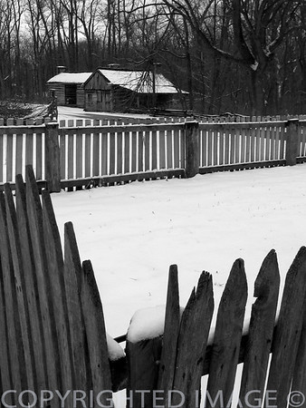 Fences in winter at Lincoln's New Salem (B & W)