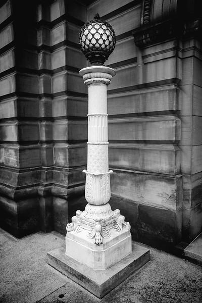 Light pillar outside of Carnegie Music Hall