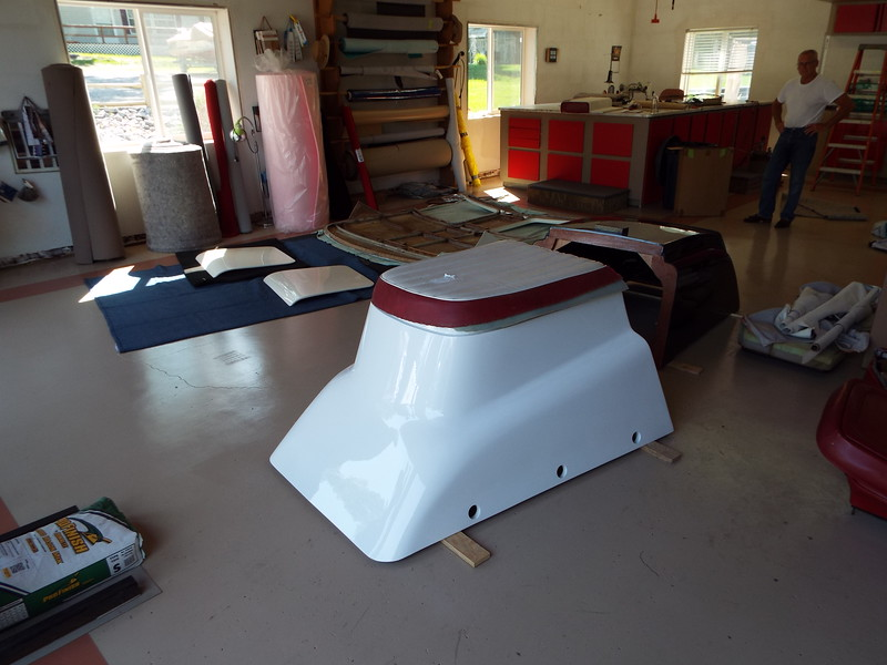 New engine box at the upholsterers shop to have the new cushion made and attached to the top.