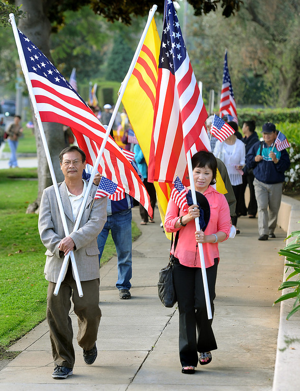 . About 125 Vietnamese-Americans staged a demonstration in front of the U.S. Ninth Circuit Appellate Court in Pasadena Tuesday, October 8, 2013, to request that the order of deportation issued against Vinh Nguyen, an Anti-Communist Hero is overturned. Nguyen violated a law, a U.S. Immigration Court on August 5, 2009, made the decision to deport him. The decision was appealed. Protesters want to seek political asylum for Nguyen, whose life, they said, will be endangered if he returns to Vietnam.(Walt Mancini/Pasadena Star-News)